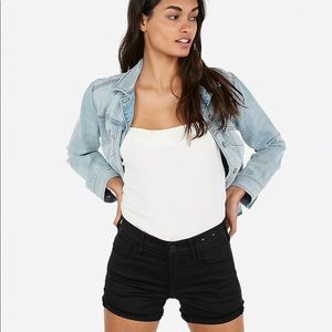 Express Mid Rise Supersoft Hem Shorts